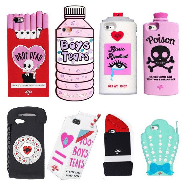 YUMQUA Mobile <font><b>Phone</b></font> <font><b>Case</b></font> For IPhone 7 7Plus 6 6S 6Plus Silicone Cover Cute Lipstick Rainbow <font><b>Cigarettes</b></font> Shell 3D Animal Lipstick