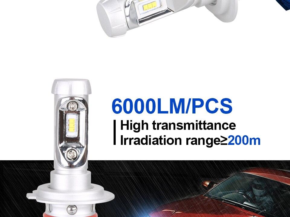 H4 Led CSP Chips H7 LED Headlights Auto-styling Led Car Bulb H1 H11 Fog Lamp Fanless (5)