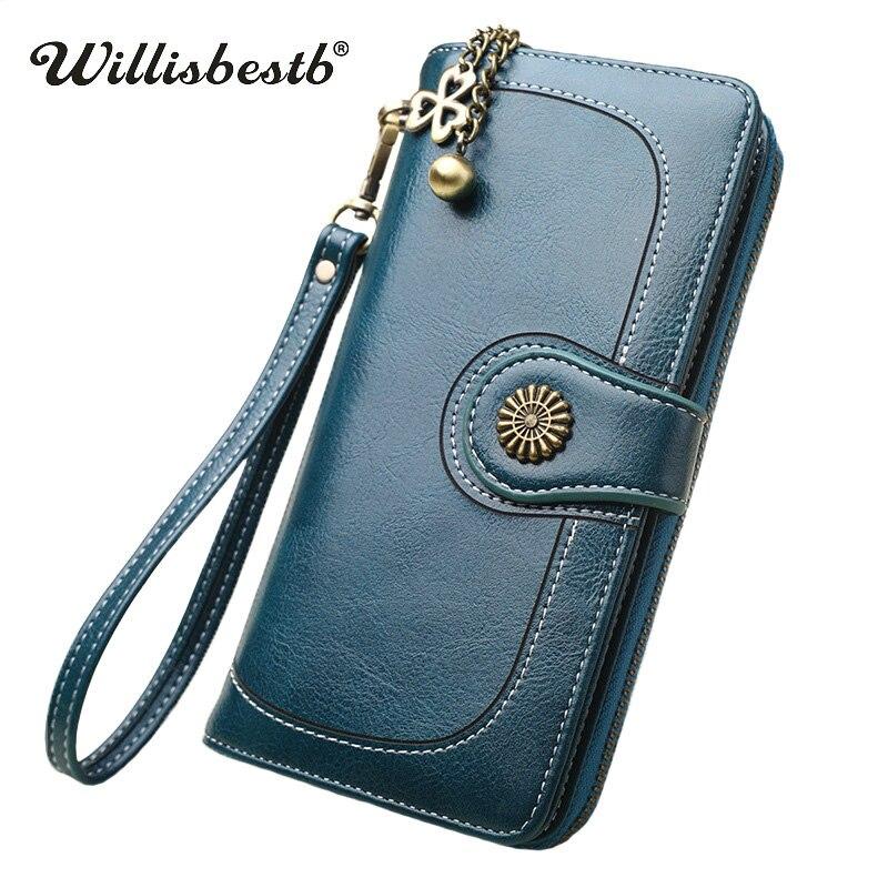 2018 New Vintage Button Phone Purses Women Wallets Female Purse Leather Brand Retro Ladies Long Zipper Woman Wallet Card Clutch 5