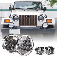 Set 7 Car Daylight Led Projector Headlight For Jeep And Fog Lamp With White DRL For