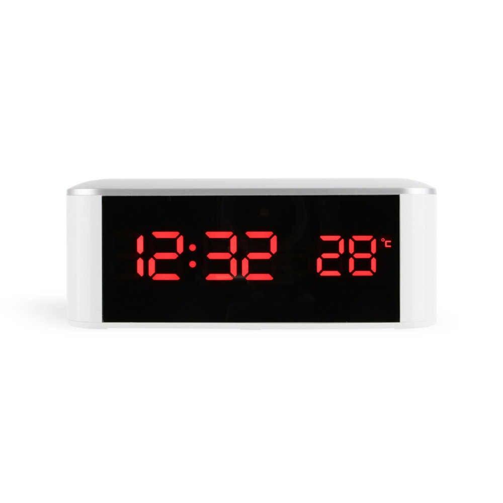 Электронный стол Diy светящееся уникальное настольное зеркало будильник с термометром с подсветкой люминова светодиодные цифровые настольные часы для дома