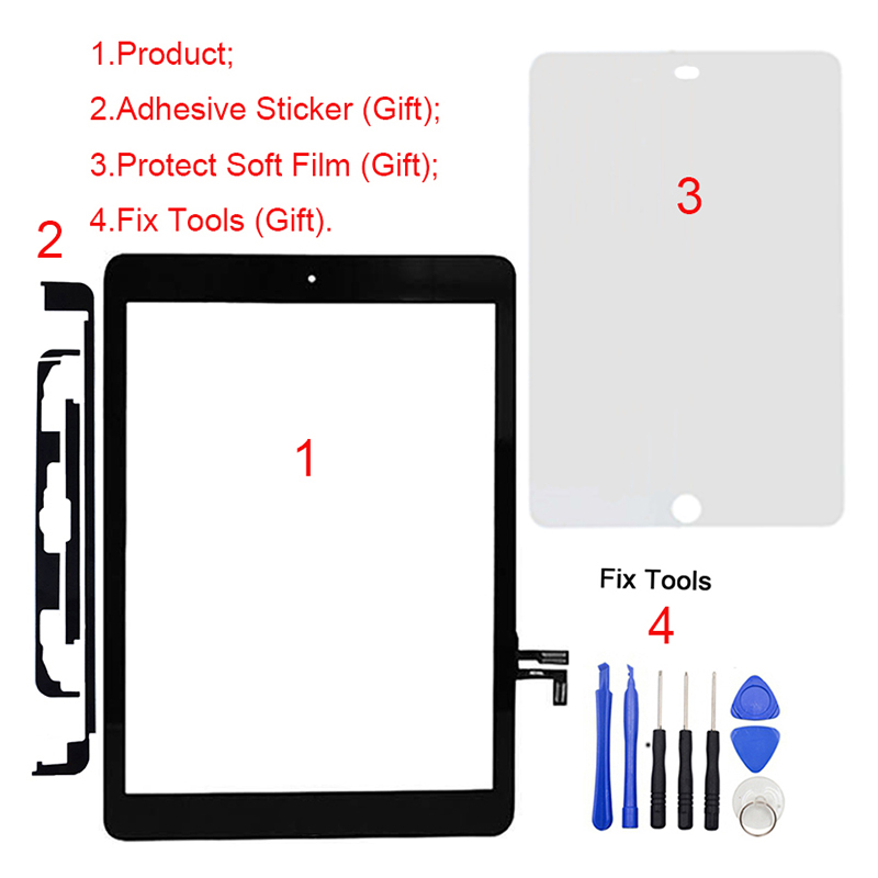 все цены на 1Pcs For iPad Air ipad A1474 A1475 A1476 Touch Screen Digitizer Front Glass Panel+Home Botton Repair Replacement Part онлайн