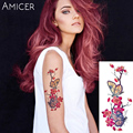 romantic butterfly arm shoulder translated tattoo rose flowers tattoo flash henna tattoo fake temporary tattoos stickers