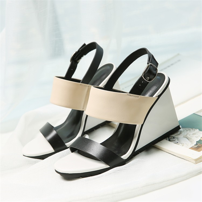 Ouqinvshen Mixed Colors Wedge Sandals Albaricoque Moda cuero genuino - Zapatos de mujer - foto 3