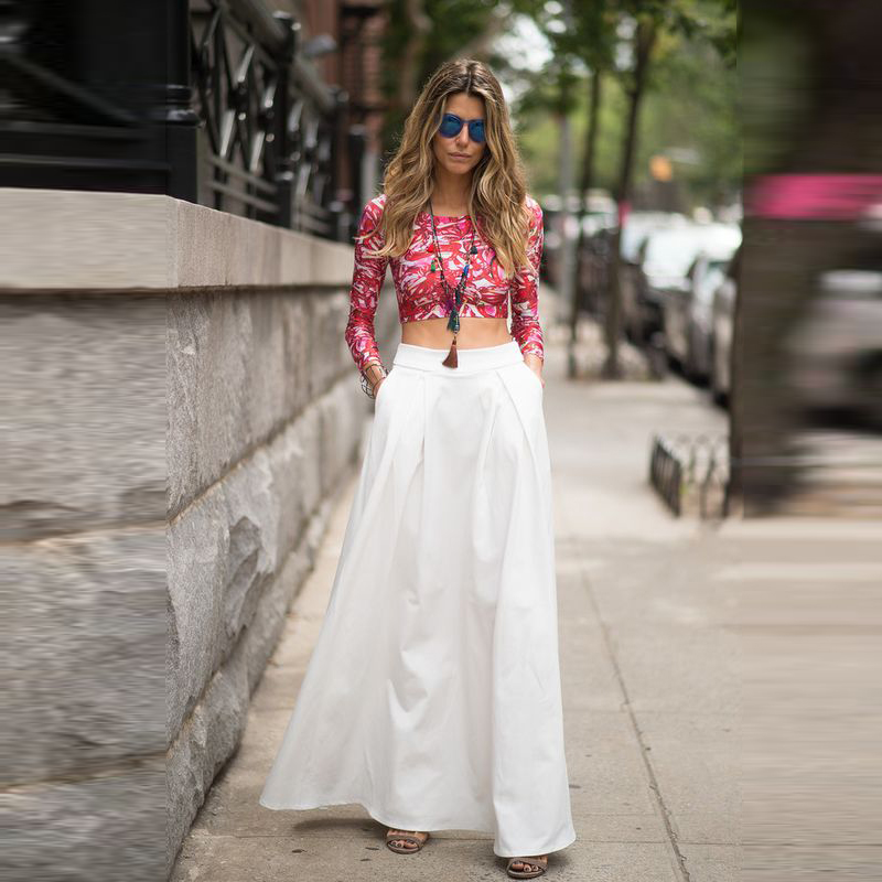 Popular Maxi Skirt Long with Pockets White-Buy Cheap Maxi Skirt ...
