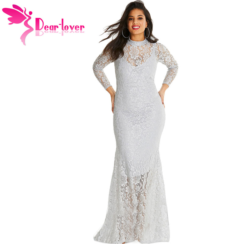 9b6e578d7c Dear Lover Sexy Women White Plus Size High Neck Lace Fishtail Maxi Dress  for Party LC610971