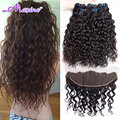 Brazilian Virgin Hair Water Wave With Lace Frontal Closure Ear To Ear Lace Frontal Closure With Bundles Curly Weave Human Hair