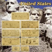 Позолоченные банкноты, 24 к, золото, фольга, поддельные деньги, 7 шт./лот, для украшения дома