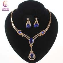 Blue Zircon Jewelry Set Rhinestone Vintage Necklace Earings Fashion Fine Crystal Women African Beads Wedding Party Accessories