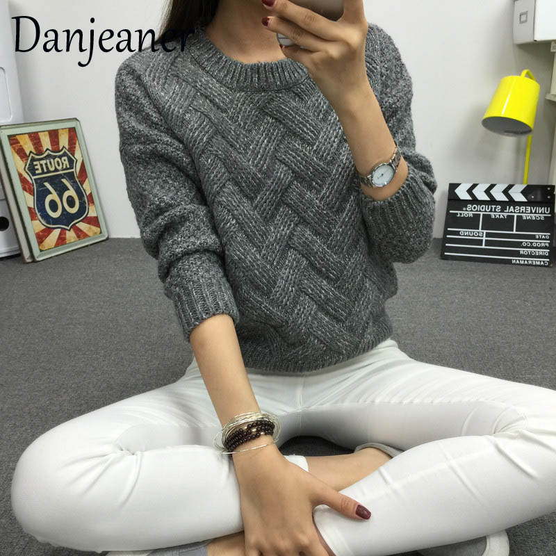 Danjeaner 2019 Vintage Women Sweater New Fashion O-Neck Pullover Winter Knit Basic Tops Loose Female Knitwear Outerwear Coats