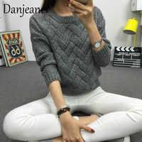 Danjeaner 2018 Vintage Frauen Pullover Neue Mode Oansatz Pullover Winter Knit Basic Tops Lose Weibliche Strickwaren Oberbekleidung Mäntel