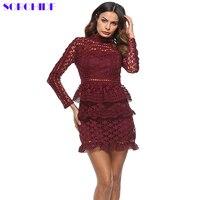 SORCHIDF Elegant Hollow Out Ruffle Lace Dress Women Vintage Long Sleeve Slim Short Dress Winter Star