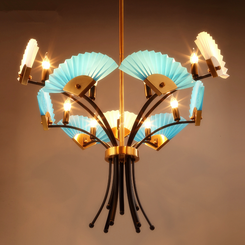 Modern simple creative fan - shaped retro chandelier living room lamps restaurant chandeliers tea bedroom hanging lights цена и фото