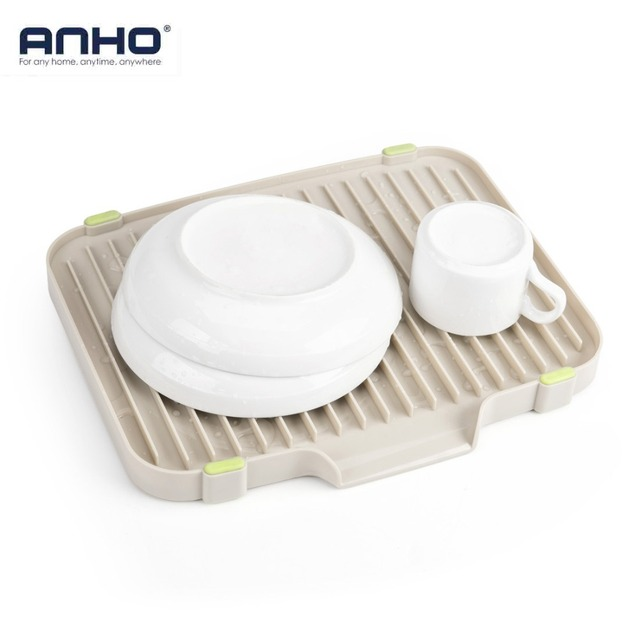 ANHO Kitchen Draining Storage Rack Cutlery Cup Bowl Dish Rack Vegetable  Fruit Drain Shelf Drying Countertop