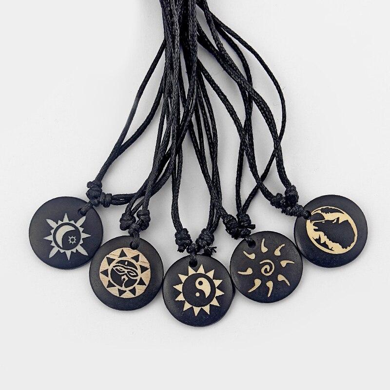 3pcs Black Wax Cord Handmade Tibetan yak bone necklace yin ying yang Sun Moon Wolf sign