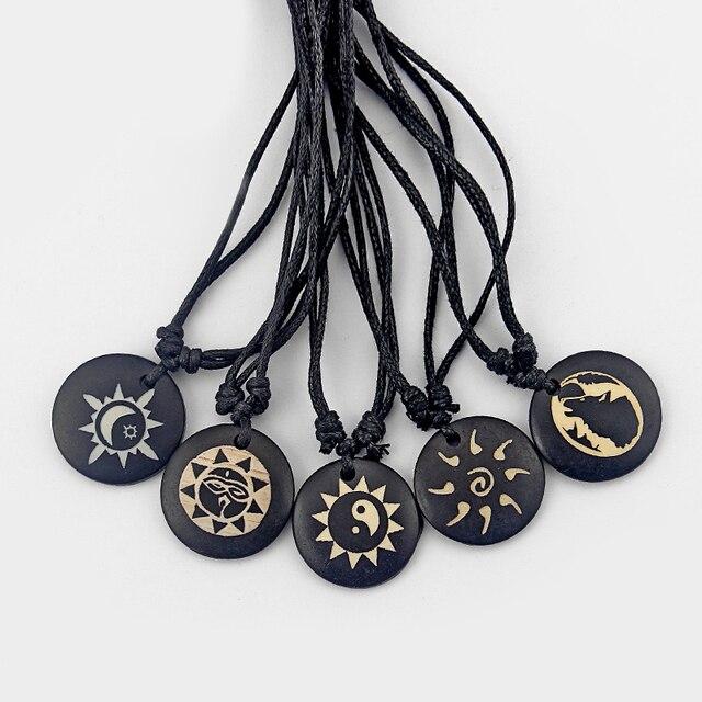 3pcs Black Wax Cord Handmade Tibetan Yak Bone Necklace Yin Ying Yang