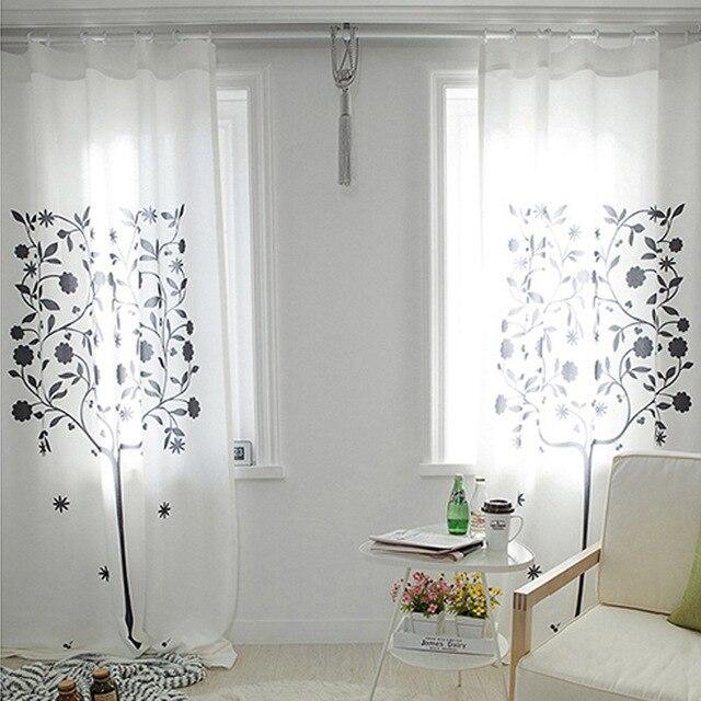 € 38.64 |Nouveau style Coréen tissu rideau blanc couleur avec noir arbre  impression fenêtre rideaux pour chambre et salon dans Rideaux de Maison &  ...