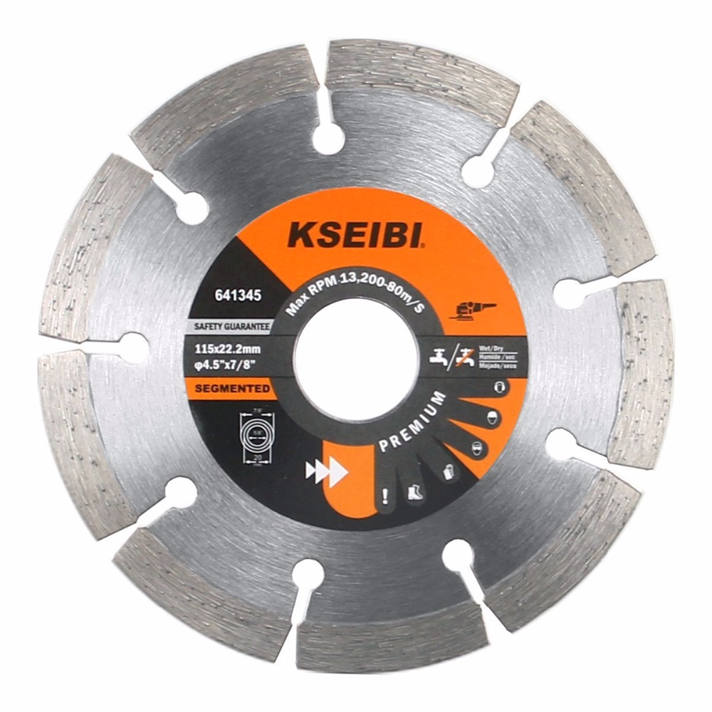 KSEIBI 641145 Premium 4 1/2 Inch Dry Wet Cutting Segmented Diamond Saw Blade With 7/8 Inch Arbor For Concrete Stone Brick Masonr