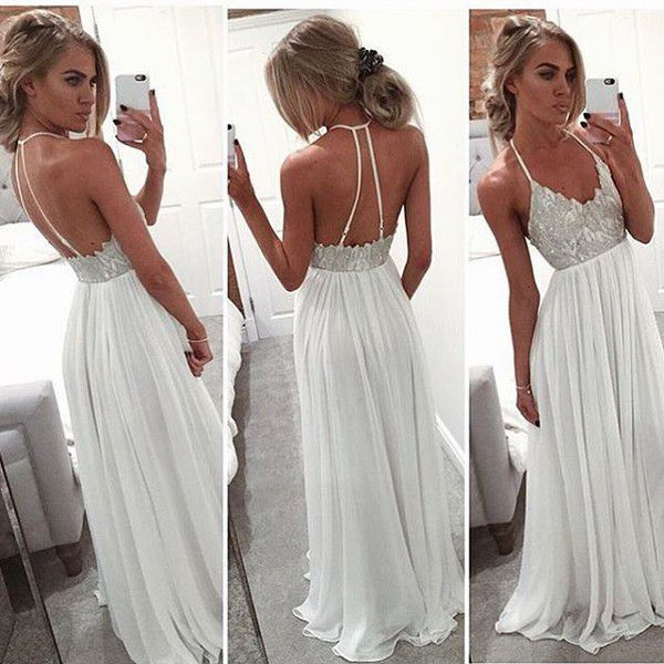 Prom Dresses Sexy Beach Halter Ivory Applqies Chiffon Backless Long Gowns  2017 Formal Graduation Party Boho bcc3befe33e8