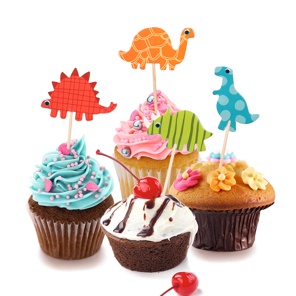 24PCS Lovely Dinosaur Cake Topper Cupcake Picks Dinosaur ...