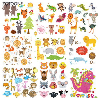 ZOTOONE Cute Animal Set Stripes Iron on Transfer Patches on Clothing Diy Patch Heat Transfer for Clothes for Kids Sticker Gift G image