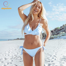 2019 Sexy Bikini Women Swimsuit Push Up Swimwear Criss Cross Bandage Bikini Set Ruffle Bathing Suit Brazilian Biquini Beach Wear