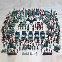 Besegad 307 sztuk z tworzywa sztucznego armii mężczyzn figurki grupy bojowe wojskowy żołnierz zestaw zabawek z bazy wojskowej Model zabawki akcesoria