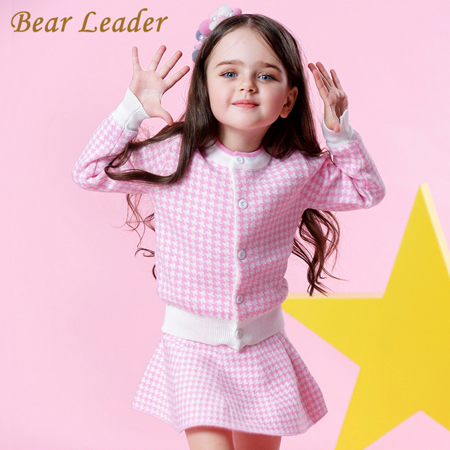 Bear Leader Girls Sets 2018 New Autumn Pink Houndstooth Knitted Suits Long Sleeve Plaid Sweater+Skit 2Pcs Kids Suits For 3-7Y