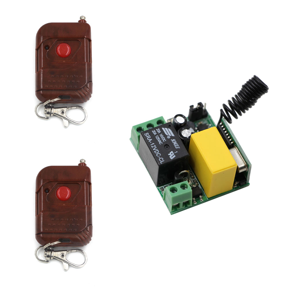 AC 220V 1CH 10A Relay Wireless Remote Control Switch Remote Light Switch Remote Controller Switch Receiver + 2 Transmitter