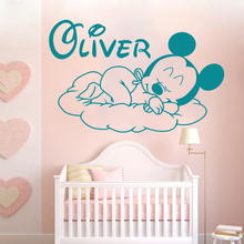 Cartoon Sleep Mickey Goodnight Custom Name Baby Room Decoration Personalized Wall Sticker Boys Poster Mural W198