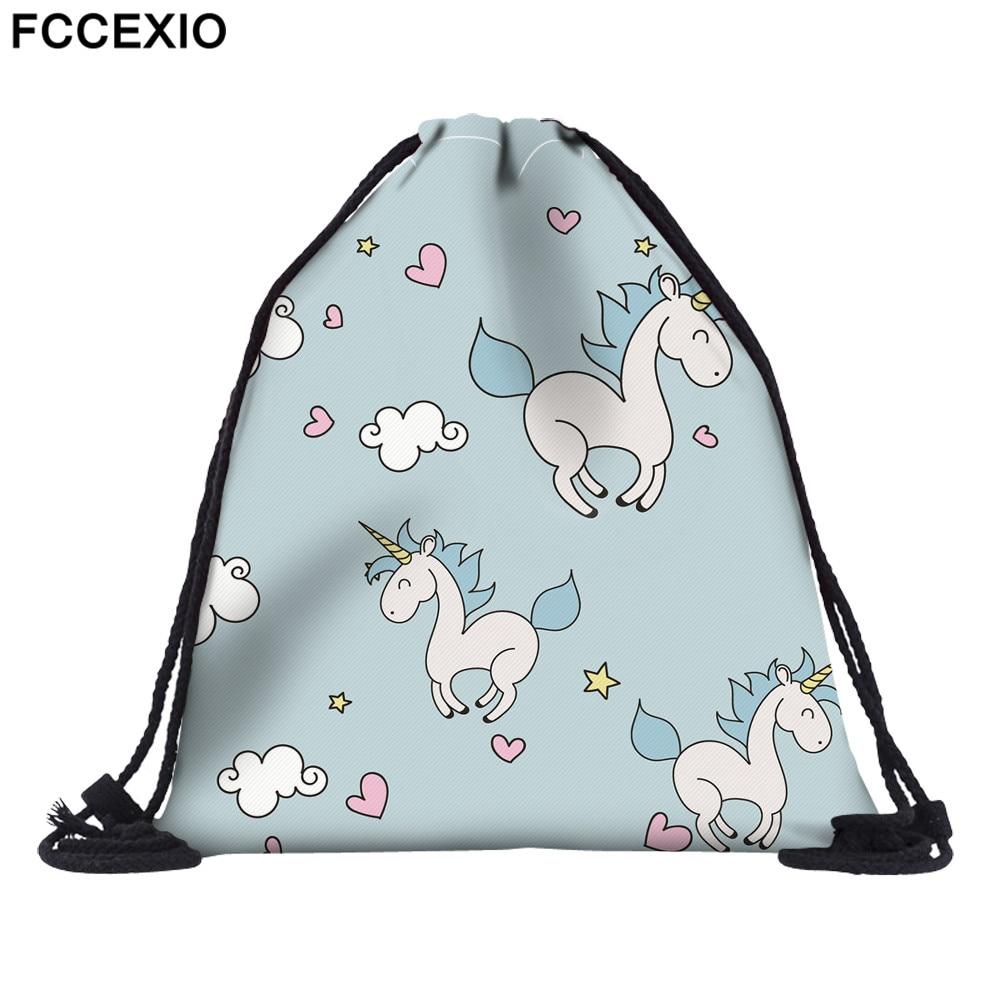 FCCEXIO New Fashion Women Blue Unicorn Backpack 3D Printed Travel Soft Back  Drawstring Bag School Feminina Girls Backpacks
