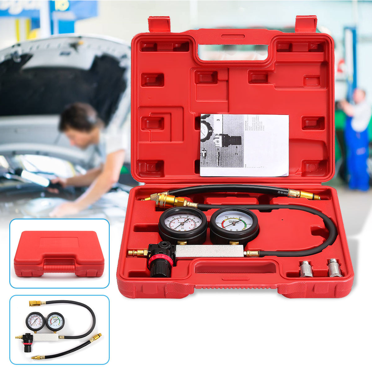 0-100PSI Cylinder Leak Tester Compression Leakage Detector Kit Set Petrol Engine Gauge Tool Double Gauge System Automobile Tools