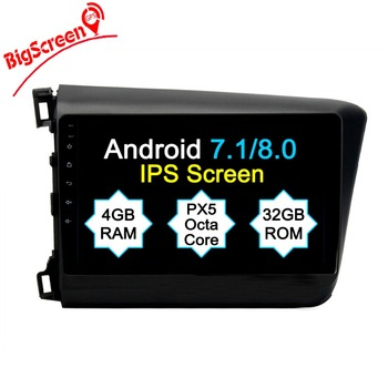 The Newest Android8.0 Octa 8 Core 4GB RAM 32GB ROM Car No DVD Player GPS Navi For Honda Civic 2012-2015 Left Headunit Autoradio image