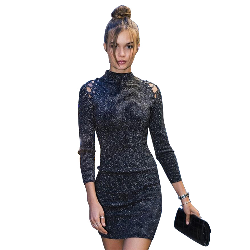 2019 temperament lady dress black women high collar long sleeve Sexy Club Dresses openwork strapless nightclub dress vestido