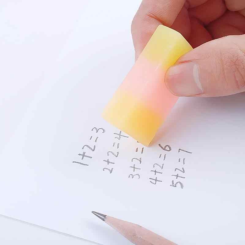 Kawaii สามสี Jelly Eraser Novelty เครื่องเขียนที่มีสีสันยางลบนักเรียนโรงเรียนอุปกรณ์สีสุ่ม