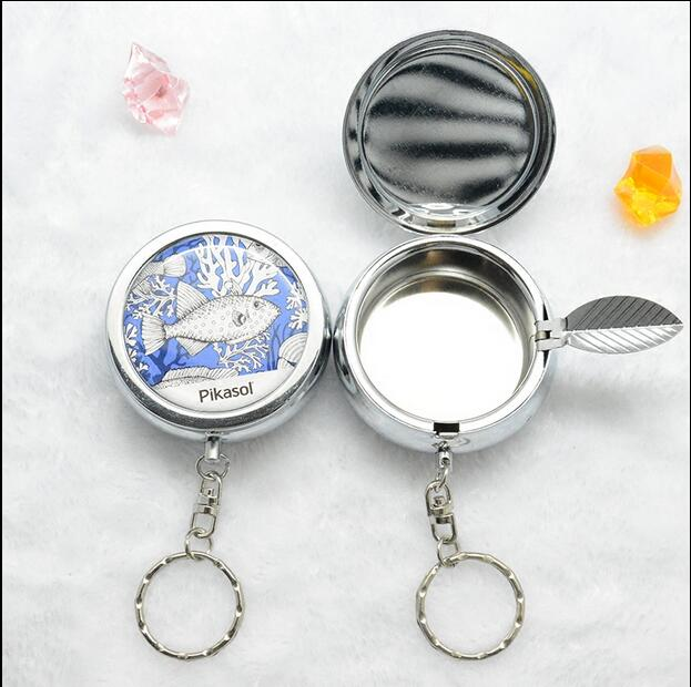 Portable Pocket With Lids Ashtray Stainless Steel Seal Bag Man Gift Ashtray With Keychain Car Ashtray Mini Outdoor Ashtray