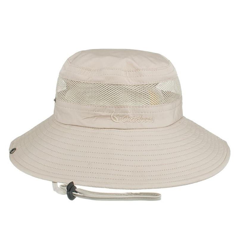 6690323267d87 XdanqinX Unisex malla transpirable cubo sombreros grandes del verano Brim  UV playa sombrero para hombres mujeres viento cuerda fija pareja sombrero en  Los ...