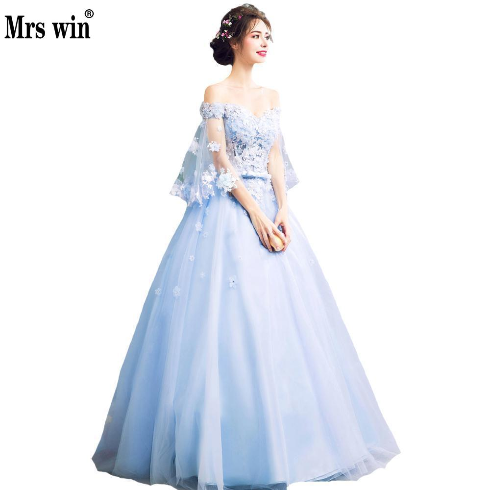 Evening Dress 2018 New Fashion Light Blue Embroidery Bevening Gowns Gown Lace Crystal Flowers Prom Dresses Vestido De Festa