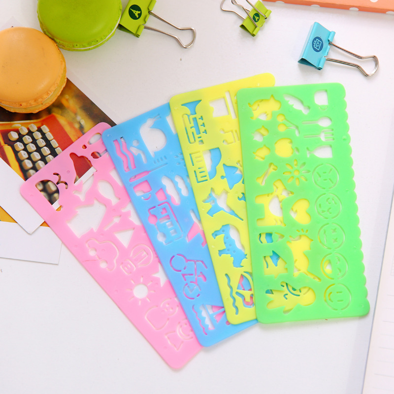 Cute Korea Creative Primary School Stationery Painted Decoration Ruler Children's Painting Template Painting Tools Gifts Rulers