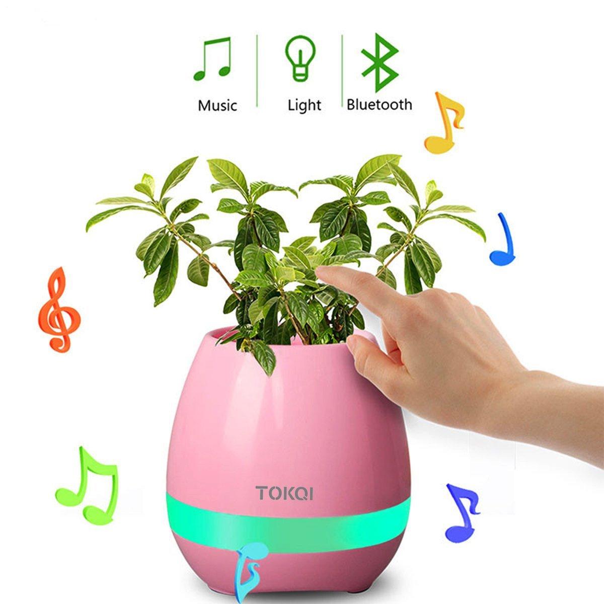 Music Flower Pot Speaker Smart Wireless Finger Bluetooth Switch Office Living Room Decoration Home Speaker Desk Touch Night LED-in Portable Speakers from Consumer Electronics