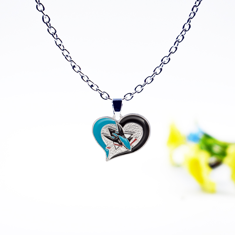 Sports Hockey San Jose Sharks Charm Pendant Necklace Jewelry Enamel Simple Necklace Jewelry For Man Woman Accessories