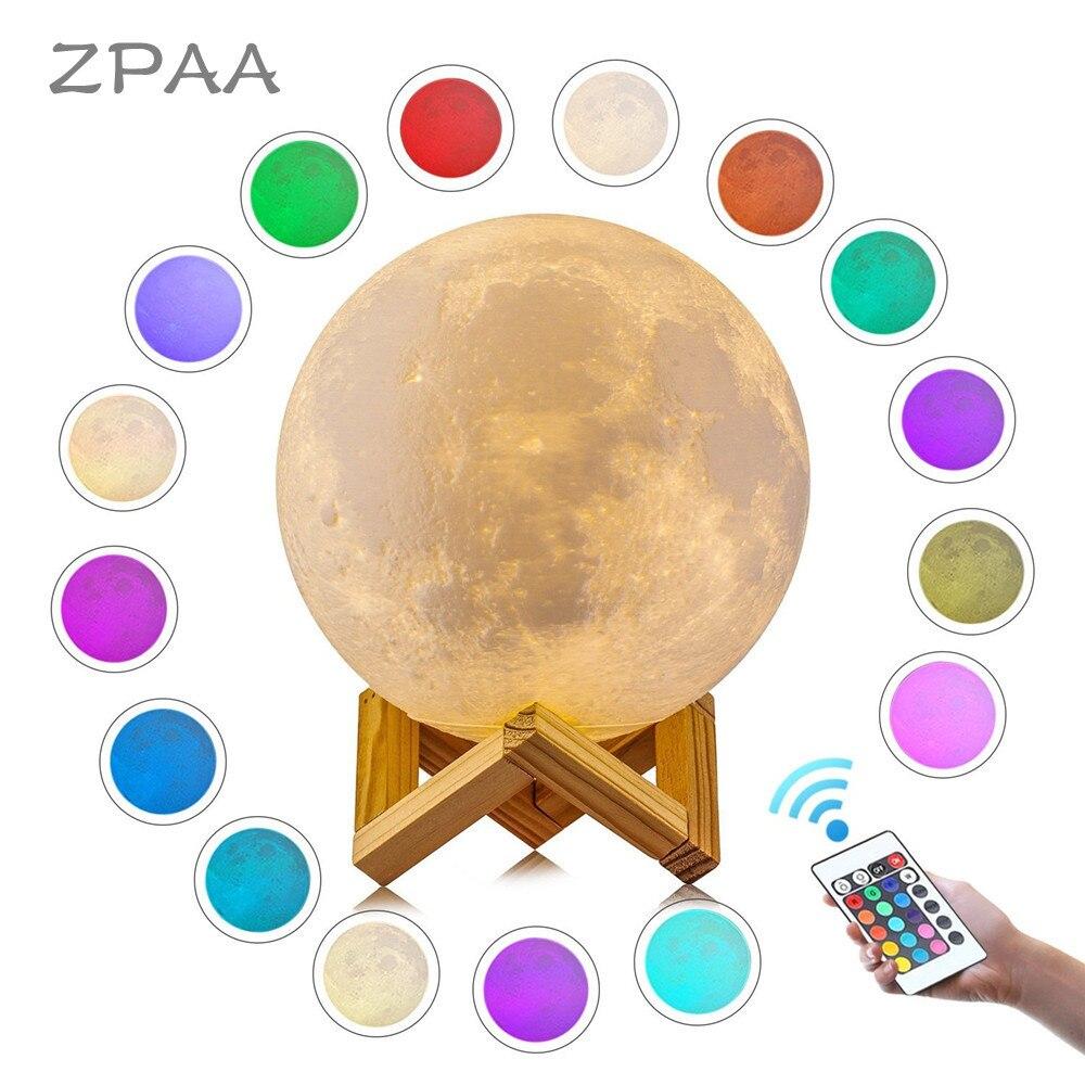 3D Mond Lampe Gedruckt Nacht Licht Fernbedienung/Touch LED Lunar Moonlight Globus Ball mit Holz Ständer Basis für kinder Schlafzimmer