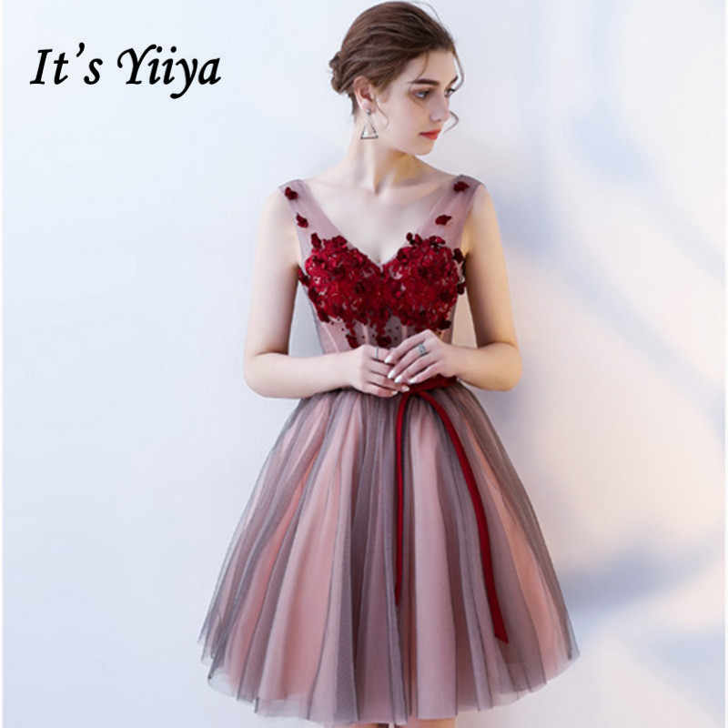 e6c8277fda It s YiiYa Pink Sleeveless V-Neck Backless Lace Up Appliques Cocktail Gowns  Illusion Ball Gown