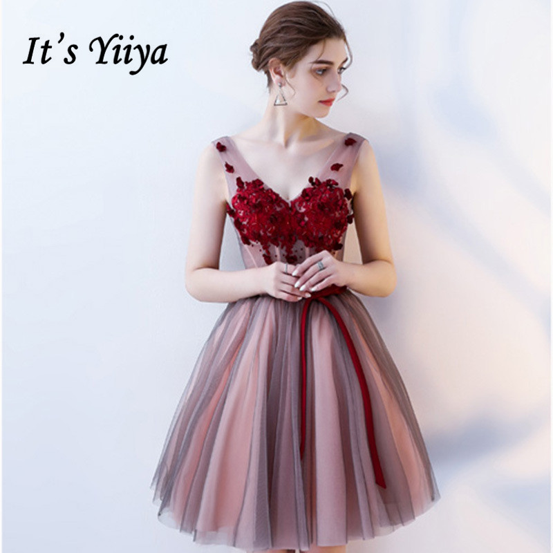 It's YiiYa Pink Sleeveless V-Neck Backless Lace Up Appliques Cocktail Gowns Illusion Ball Gown Knee Length Formal Dress LX419