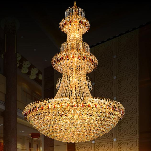Lustre en cristal d'or cristal LED moderne lustres luminaires hôtel Club éclairage à la maison longues lumières suspendues AC90V-260V