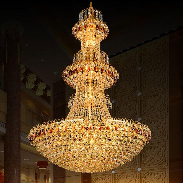 Candelabro de cristal dorado candelabros de cristal LED modernos accesorios de luces de Hotel Club iluminación de hogar largas luces colgantes AC90V-260V