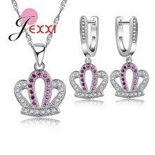 JEXXI Royal Estilo de La Princesa de La Corona Colgante de Collar Y Aretes de Joyería de Moda de Cadena Larga de Plata Precio de Fábrica de Hotsale