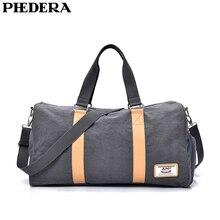 PHEDERA New Large Capacity Canvas Travel Handbag Bag Women Men Beige Black Gray Outdoor Travel Duffle Bag Messenger Bags цена 2017