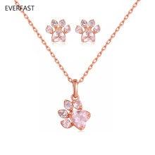 1 комплект прекрасные серьги и ожерелье милый розовый золотой
