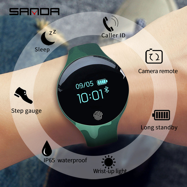 SANDA Bluetooth Pedometer Sport Smart Watch Soft Silicon Smart Touch Remote Camera Watches for IOS Android Reminder Waterproof